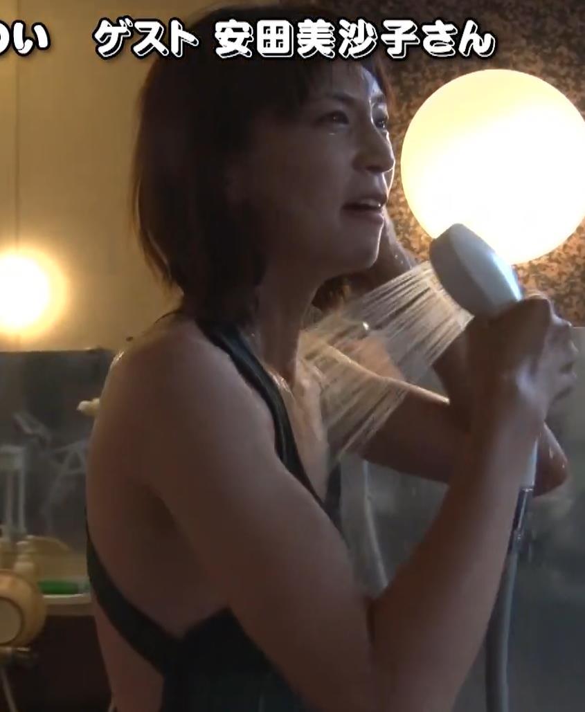 安田美沙子 サウナの水風呂で胸の谷間がエロい(胸チラ)キャプ・エロ画像7
