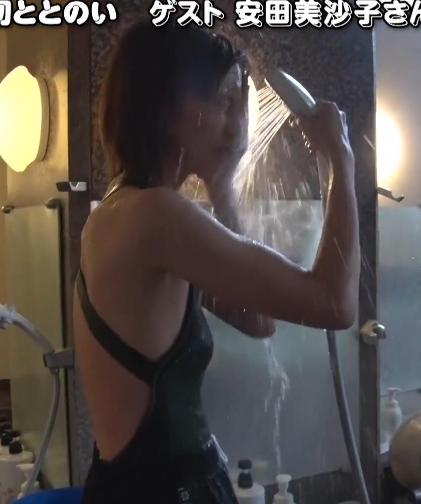安田美沙子 サウナの水風呂で胸の谷間がエロい(胸チラ)キャプ・エロ画像8