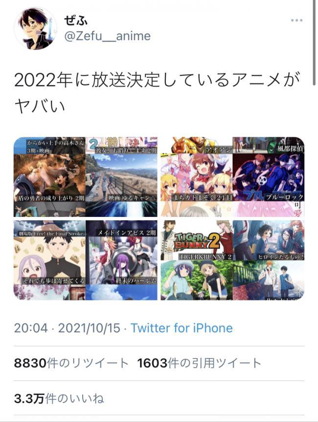 【朗報】2022年に放送されるアニメがヤバいとTwitterで話題になる